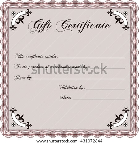 Vector Gift Certificate. Excellent design. Customizable, Easy to edit and change colors. Complex background.  - stock vector