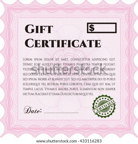 Vector Gift Certificate template. Excellent complex design. Vector illustration. With guilloche pattern and background.