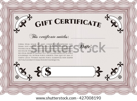 Vector gift certificate template vector illustrationeasy stock vector gift certificate template vector illustration with complex linear background excellent complex design yelopaper Choice Image