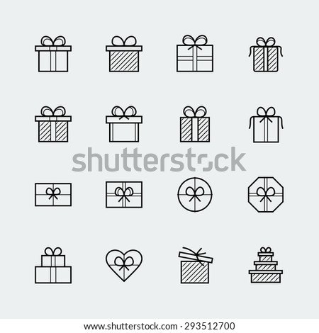 Vector gift icons set in thin line style - stock vector