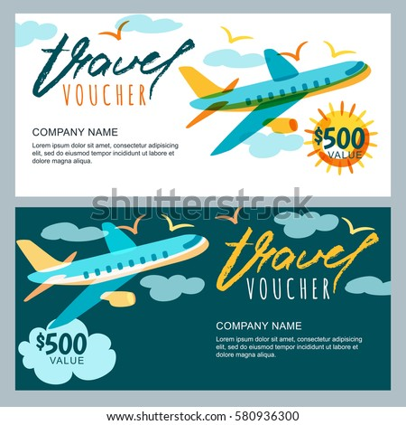 flight ticket template gift - vector gift travel voucher template multicolor stock