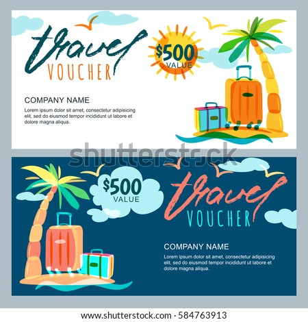 Vector gift travel voucher template tropical stock vector vector gift travel voucher template tropical island landscape with palm tree and luggage suitcase yadclub Choice Image