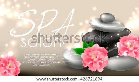 Vector gift voucher template with lotus, lily flowers. Business floral card template. Abstract background. Concept for boutique, jewelry, floral shop, beauty salon, spa, fashion, flyer, banner design. - stock vector