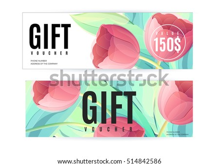 Vector gift voucher template tulip flowers stock vector hd royalty vector gift voucher template with tulip flowers business floral card abstract background concept yelopaper Images