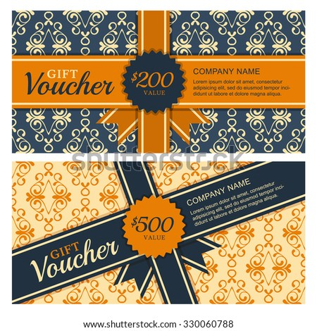 Vector gift voucher template with vintage seamless pattern and ribbon. Flourish luxury business card background. Floral design concept for boutique, beauty salon, spa, fashion, flyer, invitation. - stock vector