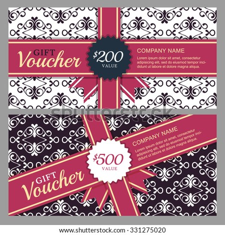Vector gift voucher with black and white ornament background and red ribbon. Decorative business card template. Floral design concept for boutique, beauty salon, spa, fashion, flyer, invitation. - stock vector