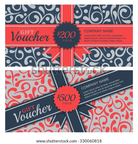 Vector gift voucher with flourish ornament background and ribbon. Decorative business card template. Floral design concept for boutique, beauty salon, spa, fashion, flyer, invitation. - stock vector
