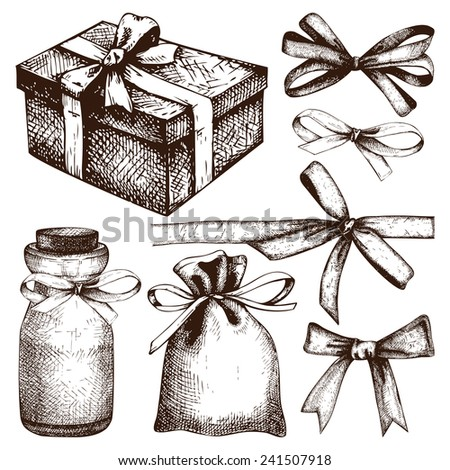 Vector gift wrapping collection. Ink hand drawn gift bows and box set. - stock vector