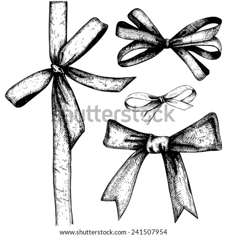 Vector gift wrapping collection. Ink hand drawn gift bows set. - stock vector