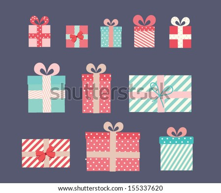 Vector gift wrapping collection. Vintage illustration - stock vector