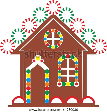 Vector. Gingerbread house color 03 - stock vector