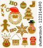 Vector gingerbread set - stock vector