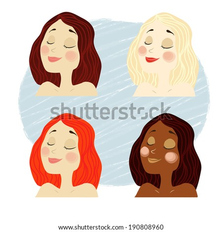 vector girl faces with blonde, dark, red, brown hairstyles