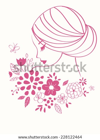 Vector girl icon. Beautiful female face with flowers - stock vector
