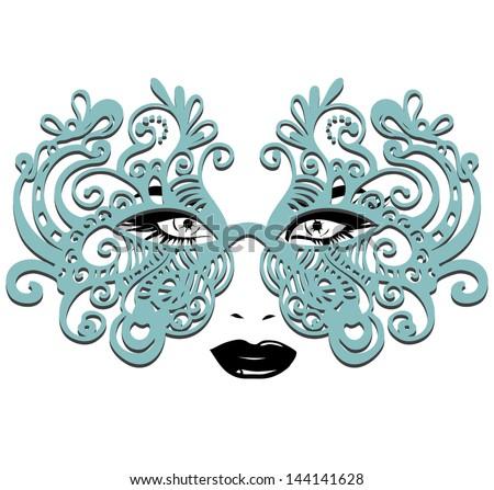 Vector Girl in a Carnival mask - stock vector