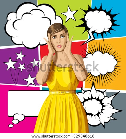vector girl in dress, surprised and looking up, and big set of bubble speech - stock vector