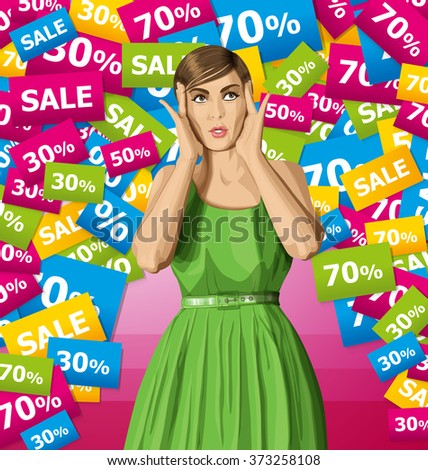 vector girl in dress, surprised and looking up, happy to do shopping - stock vector