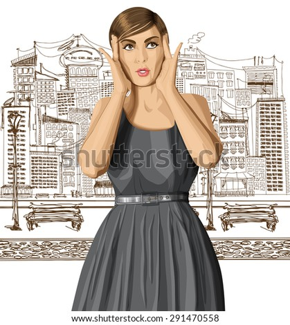 vector girl in dress, surprised and looking up, walking by the city - stock vector