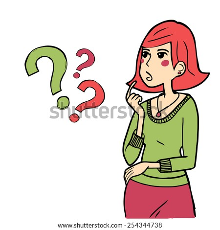 Vector girl looks thoughtfully with questions - stock vector