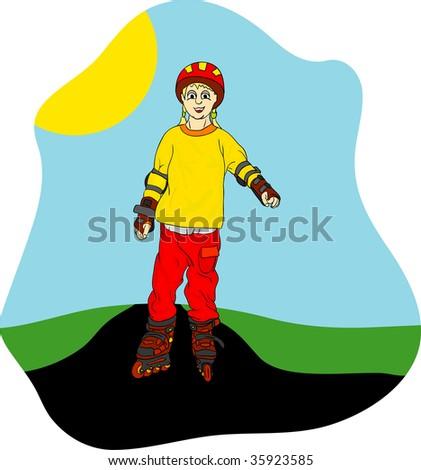 vector - girl on roller-skates - stock vector
