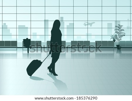 Vector Girl With The Suitcase in Airport Hall, Eps 10 Vector - stock vector
