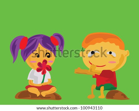 Vector - Give me please.A boy borrow a flower of a girl that he's lying. - stock vector