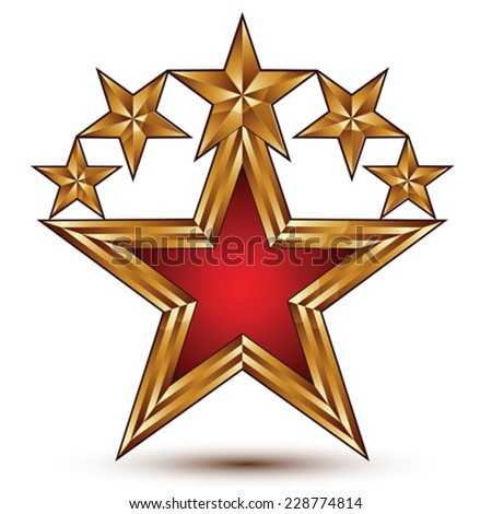 Vector glamorous glossy design element, branded 3d golden stars, conceptual graphic template, clear EPS 8. - stock vector