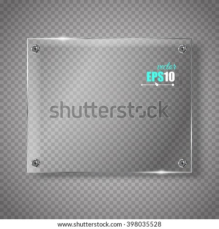 Vector Glass Banner On Transparent Background - stock vector