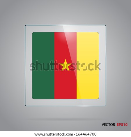 Vector glass banner with flag of Cameroon