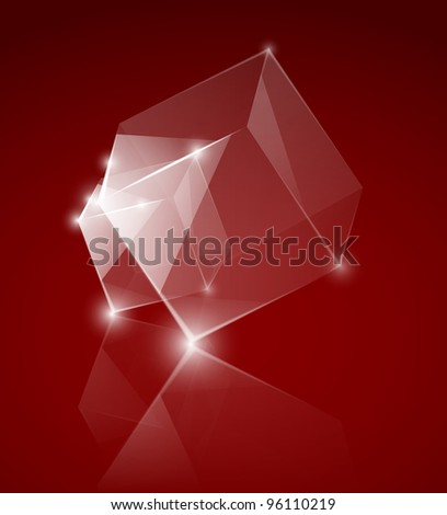Vector glass cubes on the red background. Eps 10 - stock vector
