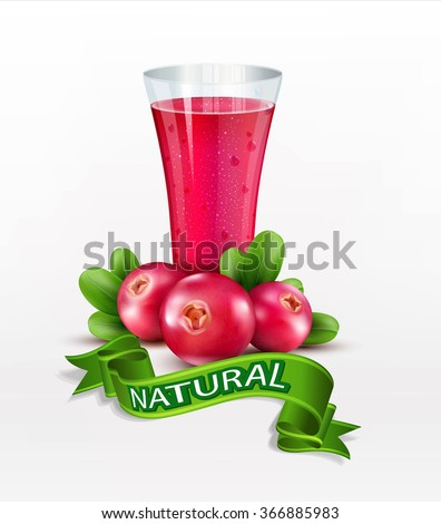 Vector glass cup with juice of cranberries isolated on white background