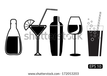Vector glass drawings on white background