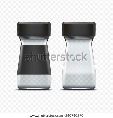 Vector Glass Empty Jar Packaging Package Isolated on White Background - stock vector