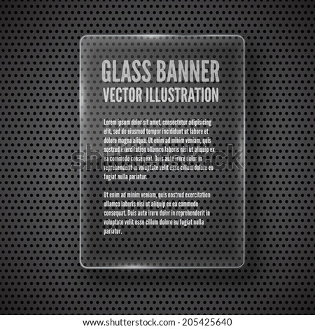 Vector glass frame banner on abstract metal background - stock vector