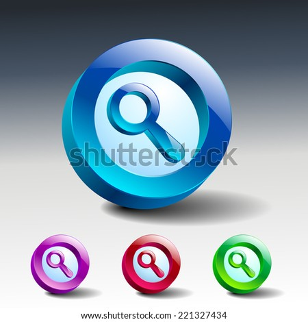 Vector Glass Magnifier Icon Matte Button. EPS10.