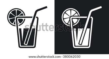Vector glass of juice icon. Two-tone version on black and white background