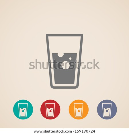 vector glass of water icons - stock vector