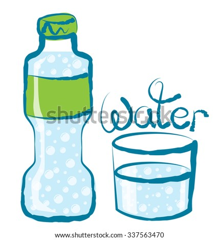 vector glass of water with calligraphic inscription - stock vector