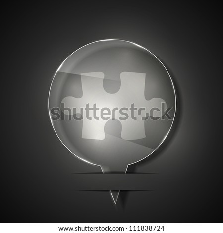 Vector glass puzzle icon on gray background. Eps 10 - stock vector