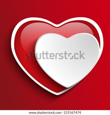 Vector - Glass Red Glossy Heart - stock vector
