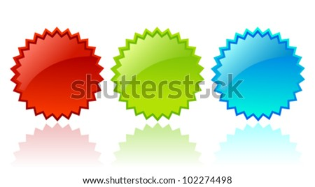 Vector glass star shapes - stock vector