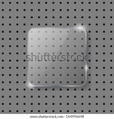 Vector glass tamplate for glass icons. Carbon background - stock vector