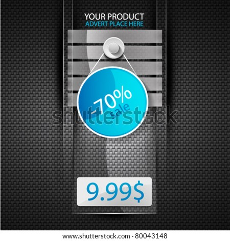 Vector glass web box. Promo web template - stock vector