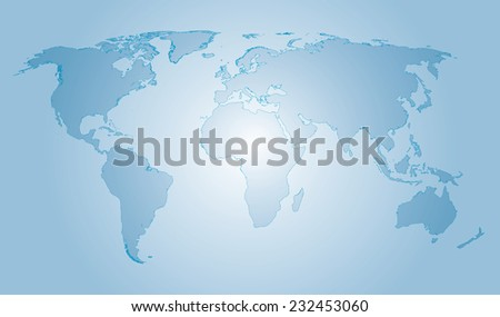 Vector glass world map water colors with outline - stock vector