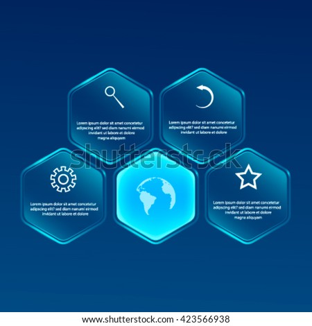 Vector glassy Hexagon banner. Infographic design,Can be used for website and promotion. - stock vector