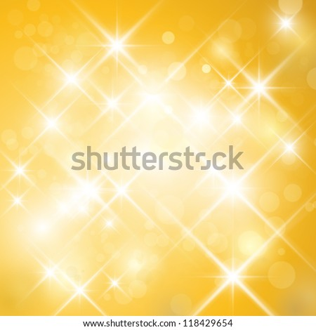 Vector glittering stars on golden glittering background (can be used with any background). Abstract gold twinkle backdrop. - stock vector