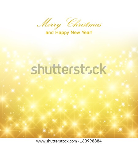 Vector glittery gold Christmas background with place for new year text invitation. - stock vector