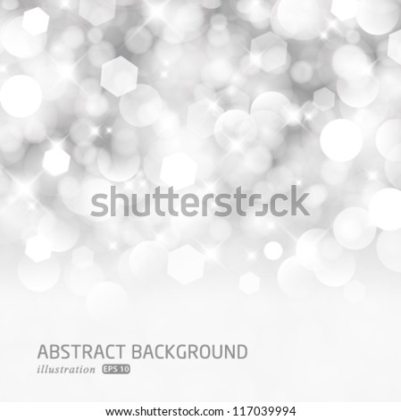 Vector glittery lights silver abstract Christmas background. - stock vector