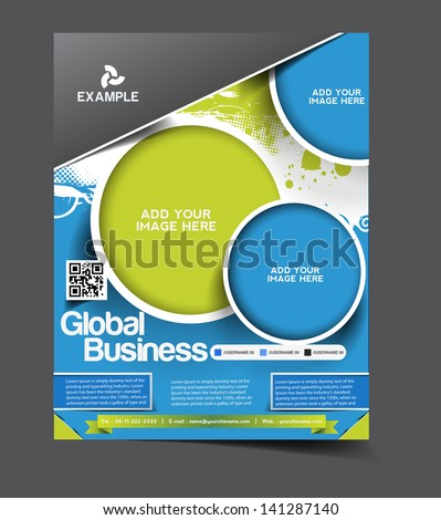 Vector Global business brochure, flyer, magazine cover & poster template - stock vector