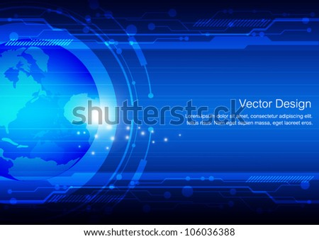 vector global future technology background - stock vector
